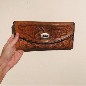 Vintage 1960s Hand Tooled Leather Wallet